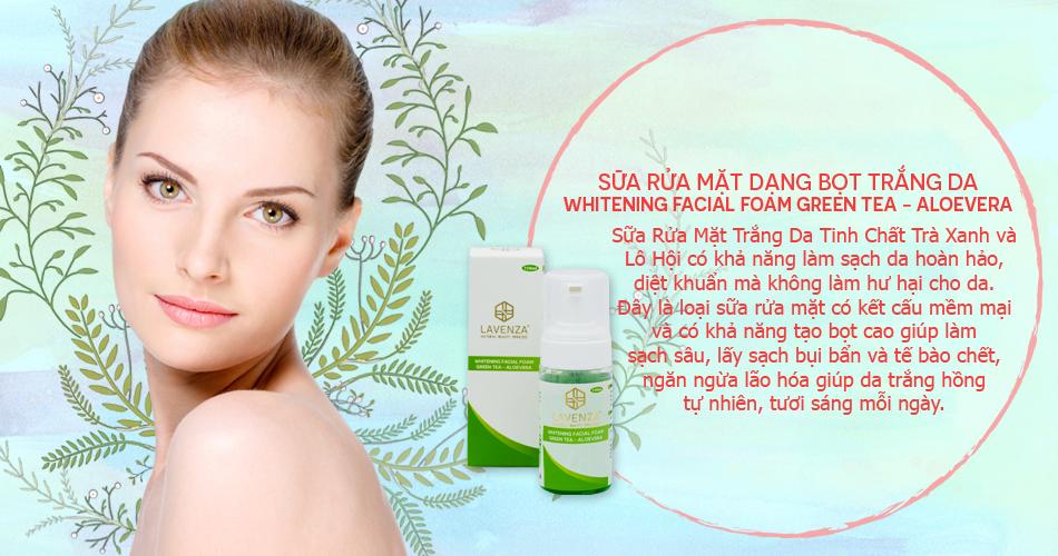 sữa rửa mặt dạng bọttrắng daWhitening Facial Foam Green Tea - Aloevera