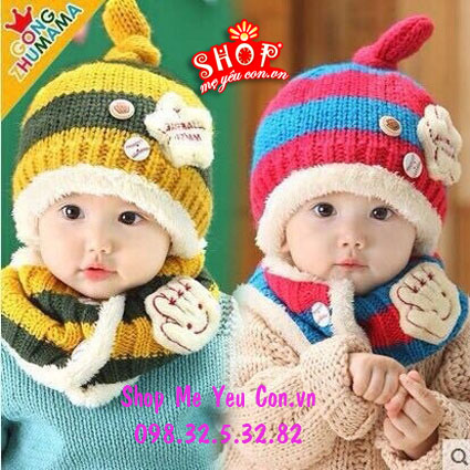Bộ khăn mũ len đính sao, khăn 2 lớp dày và mềm cho các bé từ 2-5 tuổi