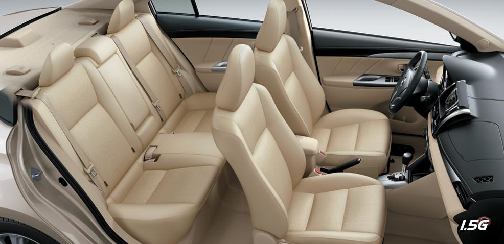 Nội thất Toyota Vios 1.5G (TRD) được trang bị bởi hàng ghế cao cấp