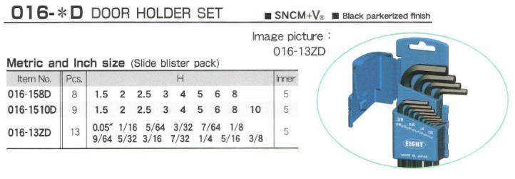 Bộ lục giác hệ inch, Eight 016-13ZD, bộ lục giác từ 0.05 inch đến 3/8 inch