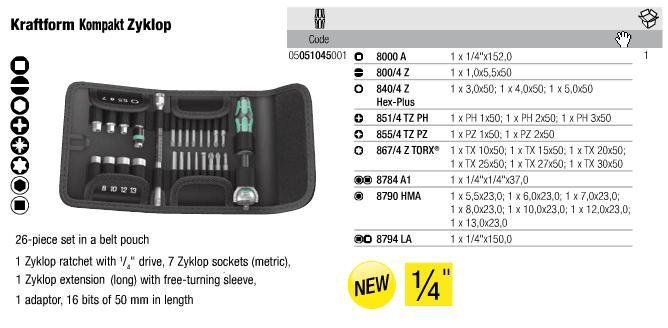 Bộ đầu bít Wera 1/4 inch với 26 chi tiết, bộ dụng cụ Wera 1/4 inch với 26 chi tiết, bộ Wera 05051045001, bộ dụng cụ 26 chi tiết Wera,