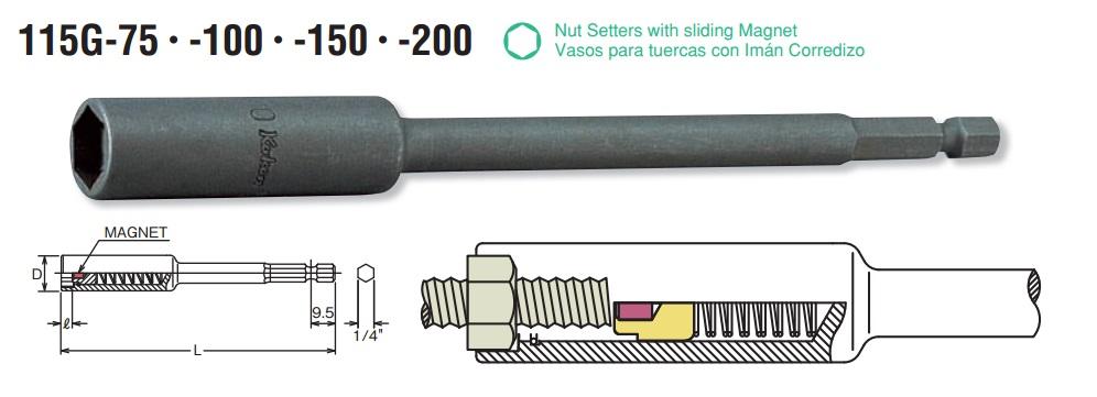 Đầu bits khẩu từ tính, đầu bits dạng tuýp có nam châm, Koken 115G.100-12