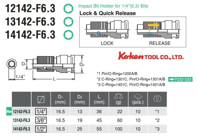 Đầu chuyển vặn vít, đầu vặn vít 6.35mm, Koken 13142-F6.3