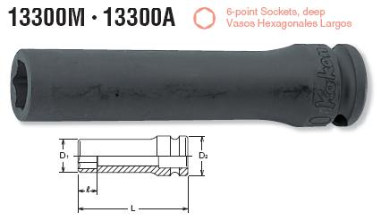 Đầu khẩu 13300M, đầu socket Koken 3/8 inch, khẩu Koken,