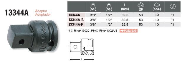 Đầu chuyển 3/8 inch, Koken 1344A, đầu chuyển 3/8 inch sang 1/2 inch