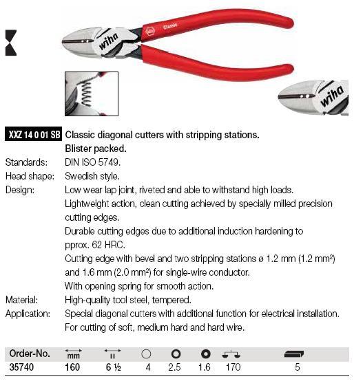 Kìm cắt dây điện, kìm cắt Wha, kìm chuyên dùng cắt dây đồng, kìm cắt dây mềm, Wiha 35740,