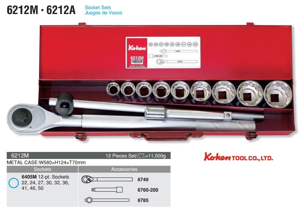 Koken 6212M, Koken 19.5mm, bộ đầu khẩu 3/4 inch 6212M,
