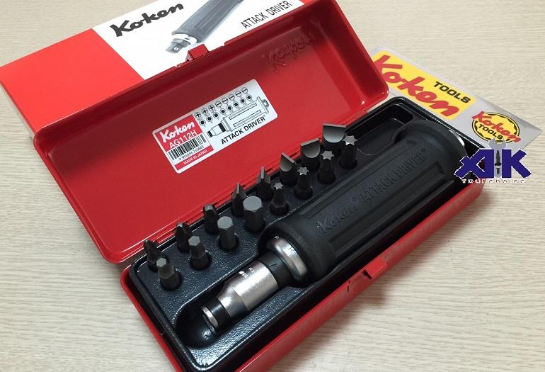 Koken AG112H, bộ tô vít đóng, cán đóng có bọc cao su, mũi đóng lục giác,