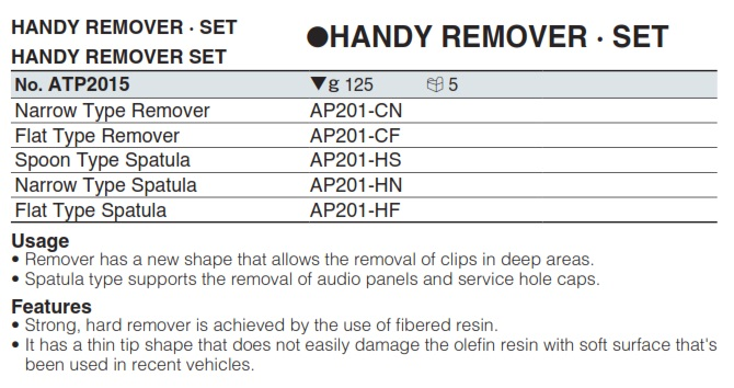 Bộ thanh nhựa tháo nội thất ATP2015, KTC ATP2015