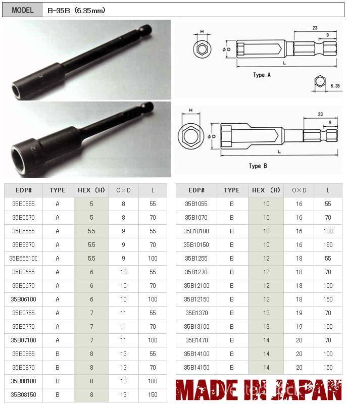 Bix Japan, driver bits, screwdriver bits, driver bits japan, đầu bits dạng đầu khẩu, đầu bits dạng tuýp, B-35B Bix Japan,