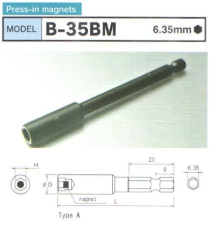Đầu bits dang khẩu từ tính, B-35BM, đầu bits dạng tuýp có từ tính, đầu bits từ tính,