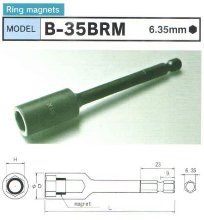 Đầu tuýp từ tính, B-35BRM, từ tính vòng nam châm ép, BiX B-35BRM
