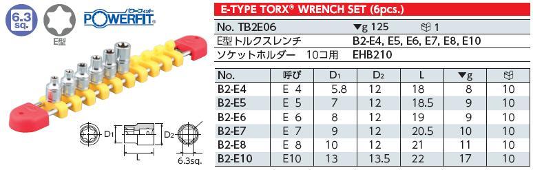 Bộ đầu E, bộ khẩu lục giác 6 cạnh cong, KTC TB2E06, bộ đầu E hoa thị