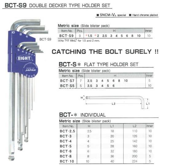 Bộ lục giác vòng ring, bộ lục giác chữ L với vòng thép giữ, BCT-S9, Eight BCT