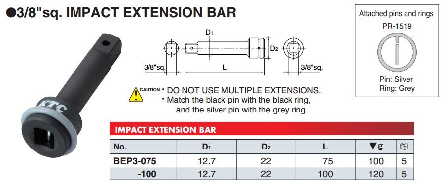 Thanh nối dài cho súng 3/8 inch, KTC BEP3-075, BEP3-100, thanh nối dài 75mm