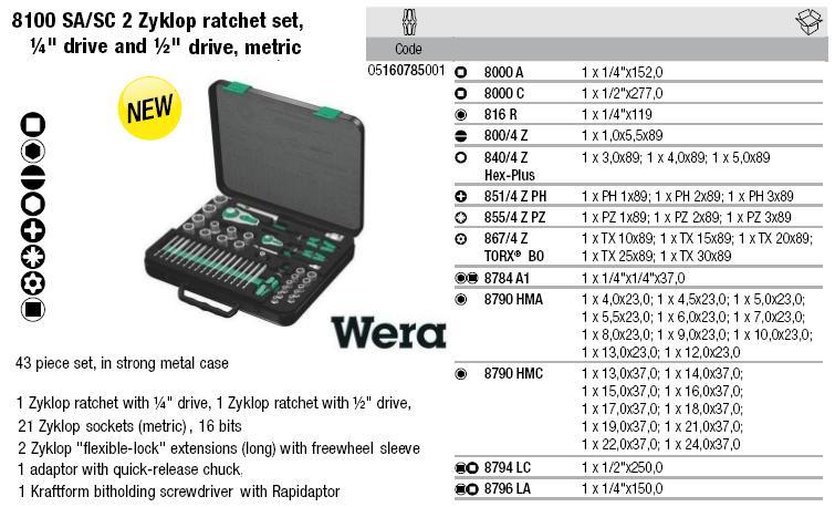Bộ tuýp Wera, bộ đầu khẩu kết hợp Wera 05160785001, bộ tuýp 43 chi tiết