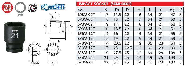 Tuýp 3/8 inch dùng cho súng, tuýp 3/8 inch của KTC Nhật, KTC BP3M-08T