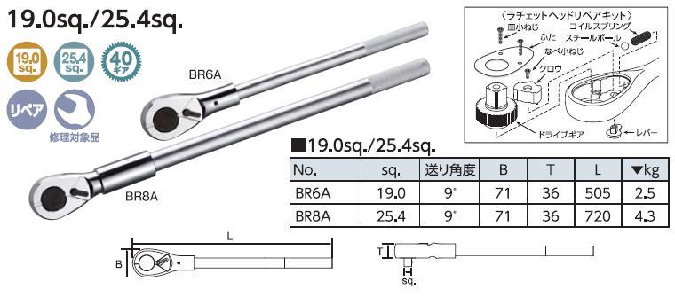 Tay lắc vặn 3/4 inch, KTC BR6A, tay lắc 3/4 inch, tay cá, tay cóc