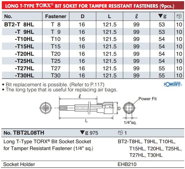 KTC BT2-T8HL, BT2-T10HL, KTC BT2-T30HL, đầu sao dạng khẩu 1/4 inch có lỗ giữa