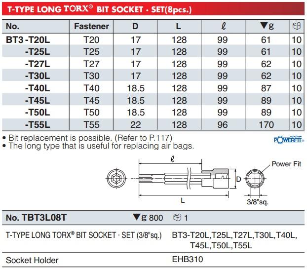 KTC BT3-T25L, KTC BT3-T55L, đầu bits sao 6 cạnh cong, đầu hoa thị 6 cạnh