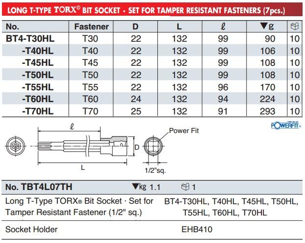 KTC BT4-T45HL, BT4-T55HL, KTC BT4-T70HL, đầu sao dạng khẩu 3/8 inch có lỗ giữa