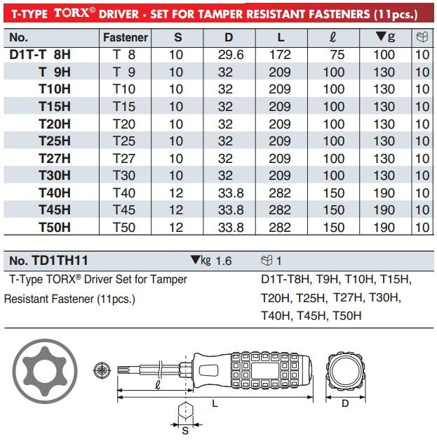 Bộ tô vít sao có lỗ TD1TH11, bộ sao 11 cỡ từ T8H đến T50H, KTC TD1TH11