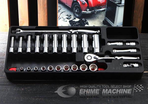 Bộ đầu khẩu gồm 20 đầu khẩu ngắn và dài loại 3/8 inch, KTC TB3X20