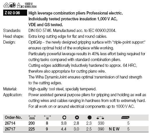 Kìm điện 1000V, kìm cách điện 1000V, kìm điện Wiha 26714, Wiha 26717