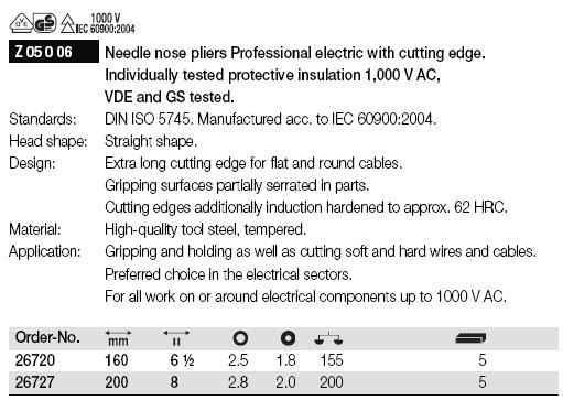 Kìm cách điện 1000V, kìm nhọn cách điện 1000V, kìm cách điện nhập khẩu