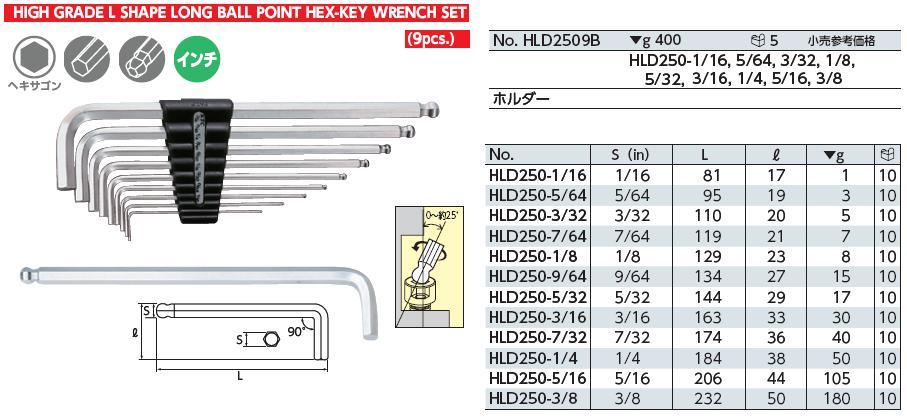 Bộ lục giác hệ inch, bộ lục giác HLD2509B, KTC HLD2509B