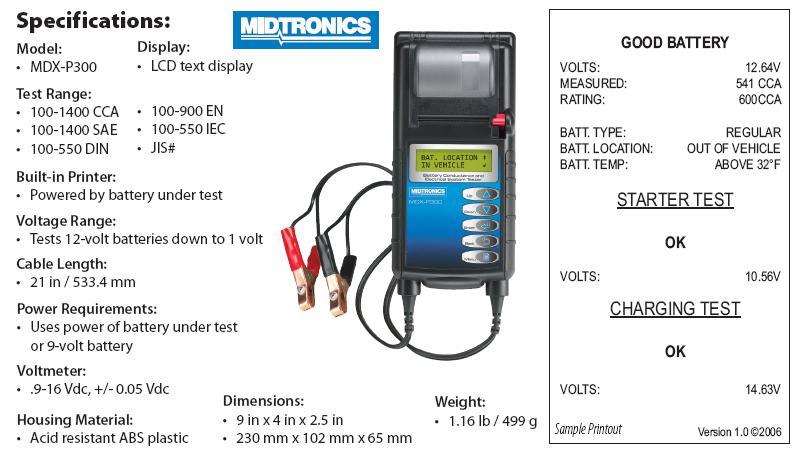 Máy kiểm tra bình điện ô tô, Midtronics MDX-P300, kiểm tra bình ắc quy ô tô, thiết bị kiểm tra bình ắc quy cho ô tô, chuyên kiểm tra bình GS cho xe Toyota, Honda