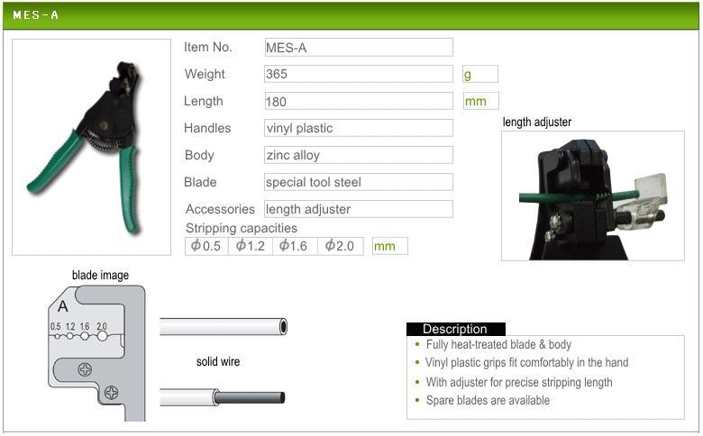 Kìm tuốt dây cỡ nhỏ, kìm tuốt dây điện Marvel, Marvel MES-A, kìm tuốt dây từ 0.5 đến 2.0mm