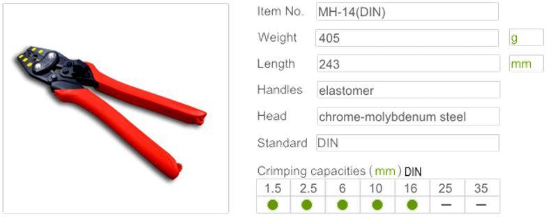 Kìm bấm cos đến 16mm, MH-14(DIN), kìm bấm cos nhập khẩu từ Nhật,