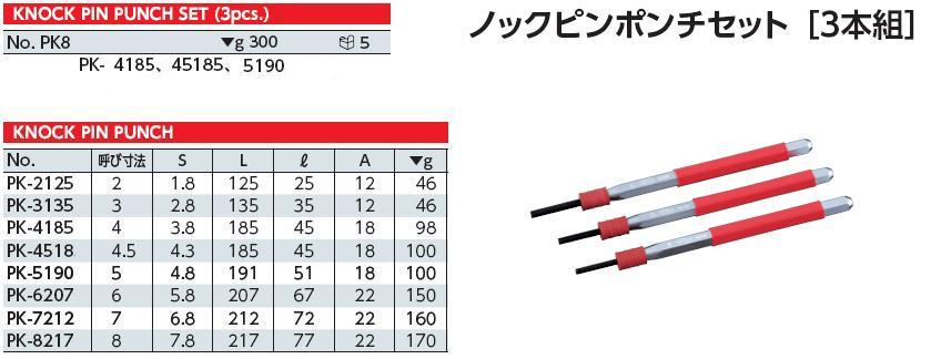 Bộ thanh đục, bộ thanh đột KTC, KTC PK3, bộ đột gồm các cỡ 4 và 5mm