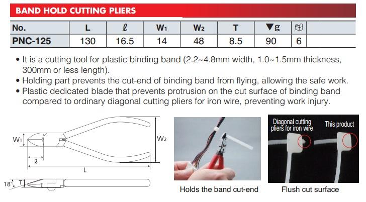 Kìm cắt dây nhựa, cắt dây đai, KTC PNC-125, kìm cắt dài 130mm,