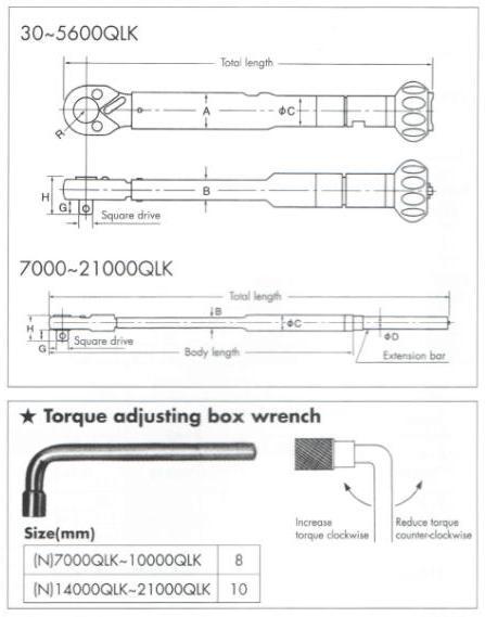 Cờ lê lực đặt lực trước, cần siết lực với đầu nối 3/4 inch, dải đo lực 80-560Nm