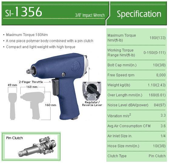 Súng vặn ốc 3/8 inch, súng vặn bu lông, súng với vỏ Composite, súng bắn bu lông,