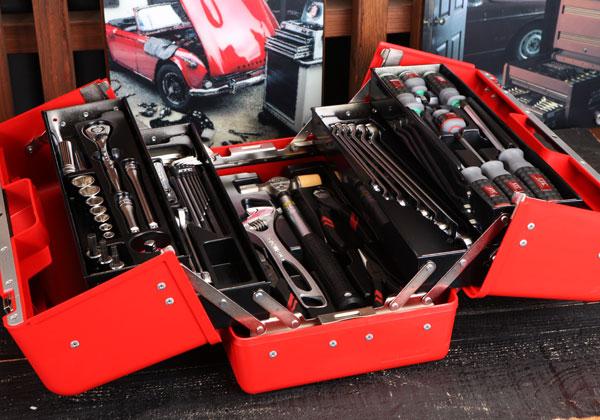 Bộ dụng cụ sang trọng cao cấp, hộp dụng cụ bằng nhựa đỏ cao cấp SK330P-M, bộ dụng cụ SK3536P