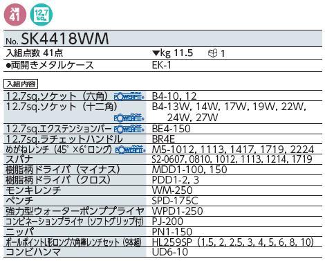Bộ dụng cụ KTC SK4418WM, bộ dụng cụ 41 chi tiết, bộ dụng cụ cơ khí