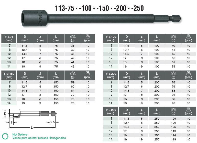 Đầu bits xiết ốc Koken, Koken 113.100-10, Koken 113.150-12, Koken socket bits
