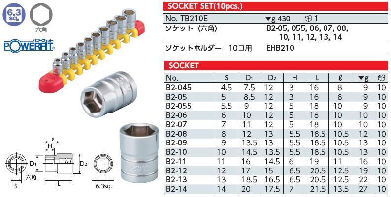 Bộ tuýp 1/4 inch, bộ đầu khẩu 1/4 inch gồm 10 cỡ, KTC TB210E, bộ tuýp 1/4 inch từ 5 đến 14mm,