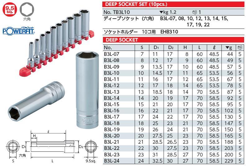 Bộ tuýp 3/8 inch KTC, bộ đầu khẩu KTC loại 3/8 inch, KTC TB3L10, bộ đầu khẩu gồm 10 cỡ từ 7 đến 22mm