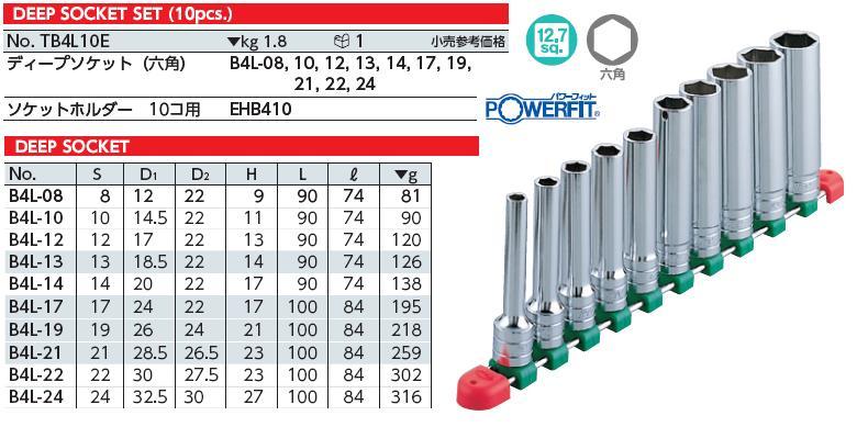 Bộ tuýp dài 1/2 inch, bộ tuýp gồm 10 cỡ từ 8 đến 24mm, bộ tuýp KTC Nhật, KTC TB4L10E