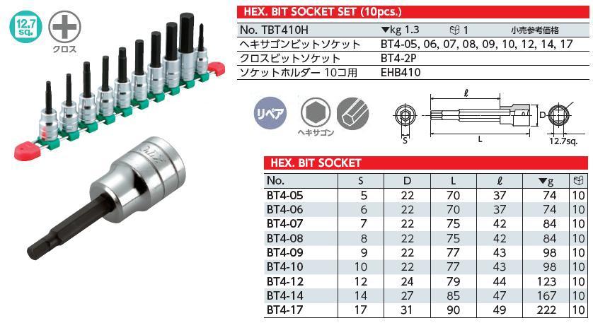 Bộ lục giác chìm dạng đầu khẩu 1/2 inch, bộ đầu khẩu 1/2 inch với đầu lục giác chìm, KTC TBT407H, bộ lục giác 10 cỡ từ 5 đến 17mm, TBT410H