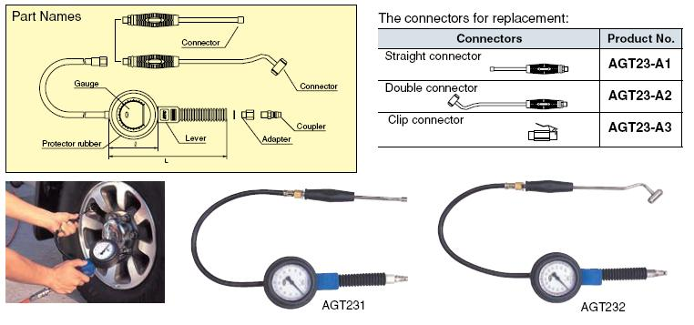 Đồng hồ bơm và đo áp suất lốp nhập khẩu, KTC AGT232, AGT232, bơm lốp xe