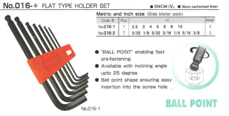Bộ lục giác với 7 cỡ từ 2.5 đến 10mm, Eight 016-1,