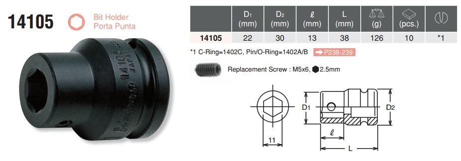 Đầu giữ, đầu nối bits, Koken 14105, RS14025 Koken