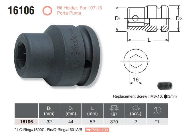 Khẩu cắm bits, đấu tuýp giữ bits, Koken 16106, đầu tuýp Koken 16106