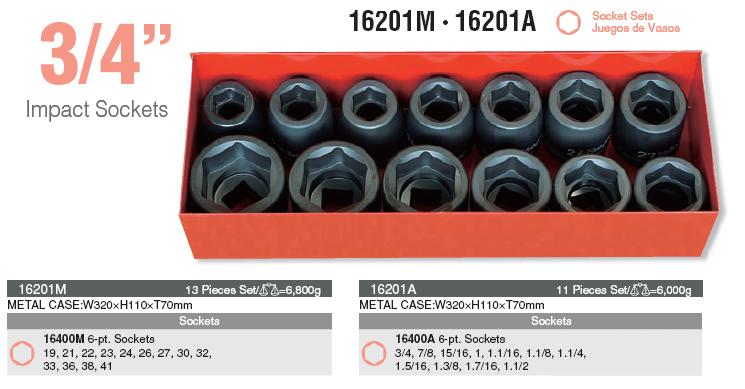 Bộ đầu khẩu Koken 16201M cỡ 3/4 inch, bộ khẩu 3/4 inch dùng cho súng, Koken 16201M