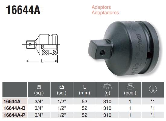 Đầu chuyển 3/4 inch, Koken 16644A, đầu chuyển 3/4 sang 1/2 Koken